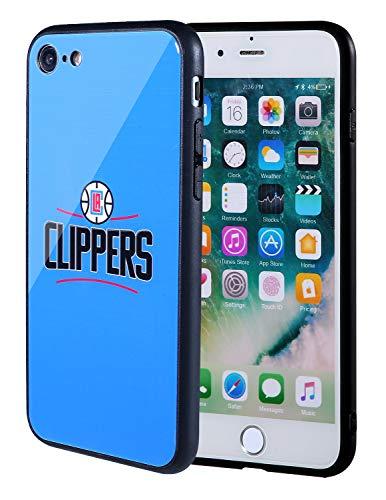 The Mass iPhone 8 Hülle, iPhone 7 Hülle, NBA Team Logo auf gehärtetem Glas, Rückseite aus weichem TPU-Rahmen für Apple iPhone 8/7, 4.7 Inch, LA Clippers Standard-clipper