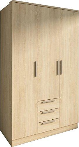 Trasman 1019roble Kleiderschrank 3 Türen mit 5 verstellbaren Innenregalen, 3 Schubladen und 1...