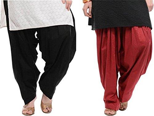 I Shop Traditional Patiala Salwar 100% Cotton Free Size (BLACK_MEHRUN)