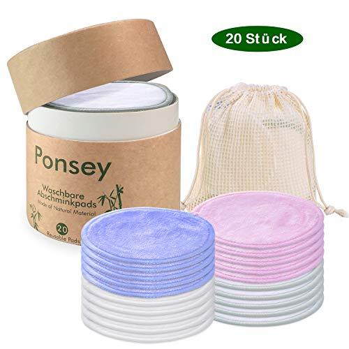 Abschminkpads Waschbar - 20 Stück Zero Waste Wattepads Wiederverwendbar mit Wäschesack und runder Aufbewahrungsbox Umweltfreundliche Plastikfrei Wiederverwendbare Wattepads für die Gesichtsreinigung