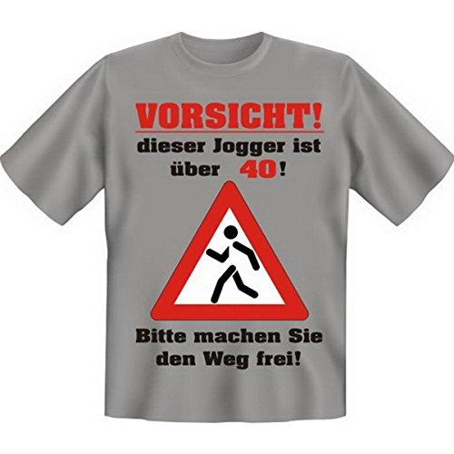 Vorsicht, dieser Jogger ist über vierzig 40 Set Goodman Design® Cooles T-Shirt Gr: Farbe: grau Grau