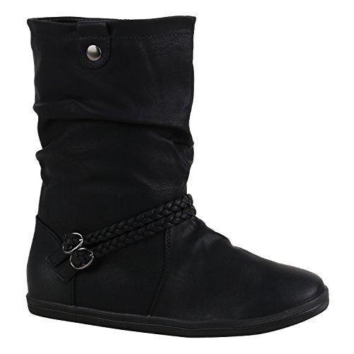 Stiefelparadies Damen Schuhe Stiefeletten Bequeme Schlupfstiefel Flache Übergangs-Schuhe 155879 Schwarz Schwarz Schnallen 37 Flandell