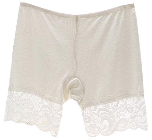 EOZY Damen Panties Lang Boxershort Spitze Kurz Leggings Weiß (Kurze Panty Spitze)