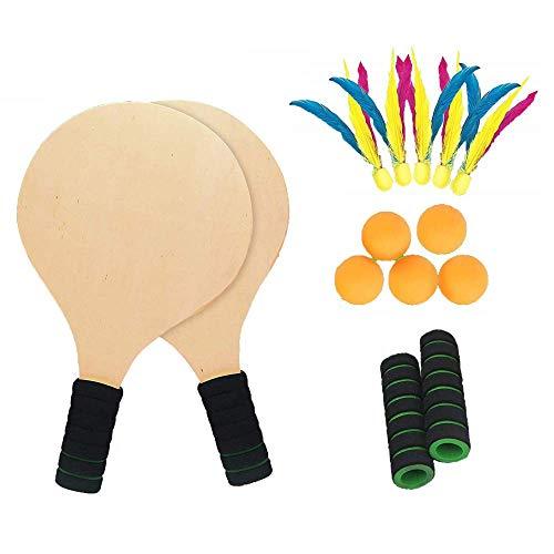 Racket Strandball Badminton Schläger Tennis Ball Spiel Set | Und Paddel Einstellen | 5 Pingpong bällen Federball | Garten Park SommerDraussen Familie Training Spaß Sport | 2in1 Cricket Holzspielset