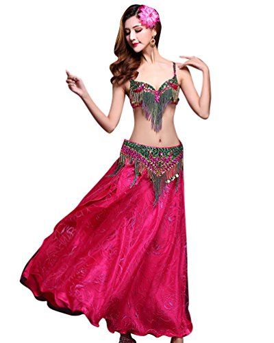 Dance Tanz Kostüm - YiJee Damen Tanz Kostüm Bauchtanz Set Indian Dance Tops Belly Dance BH Set Rose L