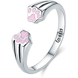 eaced27322d8 Anillo de Gato plata de ley 925 Animal mascota Perro Gato huellas huellas  de dedo anillo