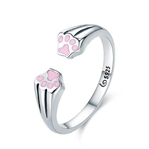 Argolla de Gato plata de ley 925 Animal mascota Perro Gato huellas huellas de dedo anillo para mujeres compromiso joyería