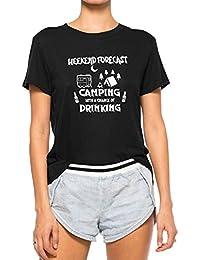 DRESSWEL Mujeres Damas Camiseta de Verano Weekend Forecast Camping Impresión de la Letra Camisetas gráficas tee