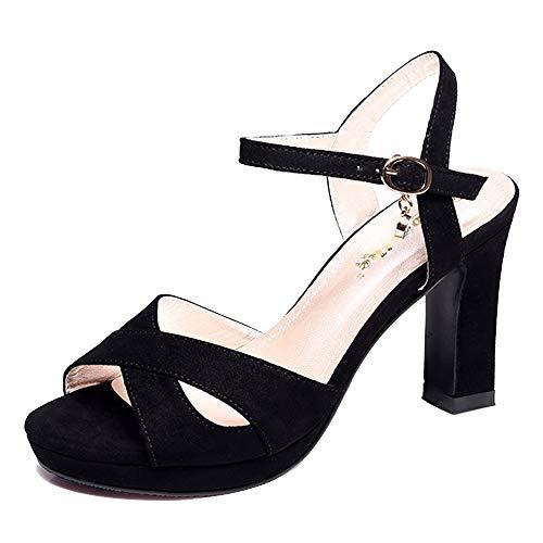 GENLLV rutschfeste Damen Peep Toe mit Absatz wasserdichte Plattform High Heel Komfort runde Zehen Pumps Sandalen Mary Janes für Partyhochzeit,Black 6cm-39EU -