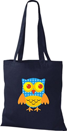 ShirtInStyle Jute Stoffbeutel Bunte Eule niedliche Tragetasche mit Punkte Karos streifen Owl Retro diverse Farbe, blau