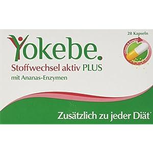 Yokebe Plus Stoffwechsel Aktiv Kapseln, unterstützen den Stoffwechsel, hochdosierter Vitamin B Komplex, Ananas Enzym, unsere Empfehlung zu jeder Diät, (1×28 Kapseln)
