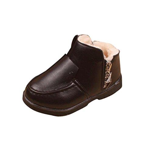 Bluestercool Chaussures bébé Filles Garçons d'hiver épais Bottes de neige Chaussures en cuir (22=2-3 ans, Noir)