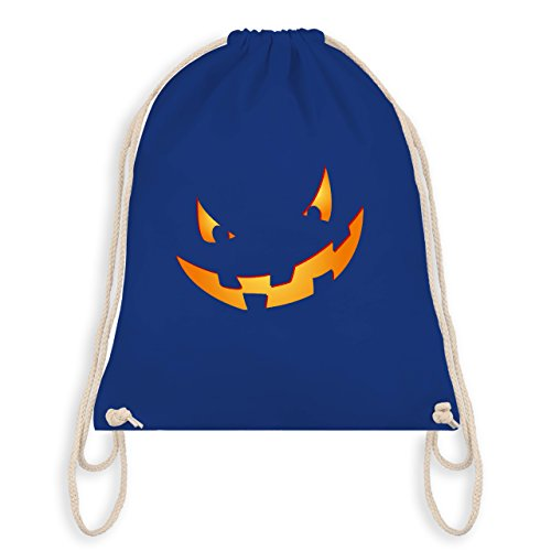 Halloween - Kürbisgesicht klein Pumpkin - Turnbeutel I Gym Bag Royalblau