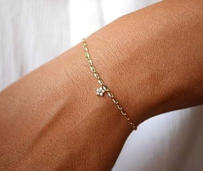 Bracelet gourmette fine plaqué or - Bracelet étoile diamant - bracelet chaine fine dorée - bracelet minimaliste - étoile dorée -bracelet fin