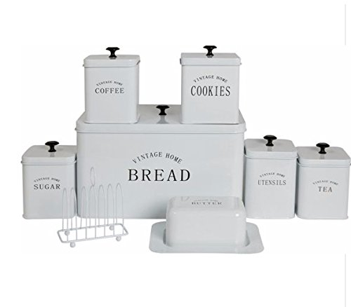 8 Piece White Storage Set - Bread Bin, Biscuit Tin X 3 Canisters X Utensil Holder X Butter Dish X Toaster Rack