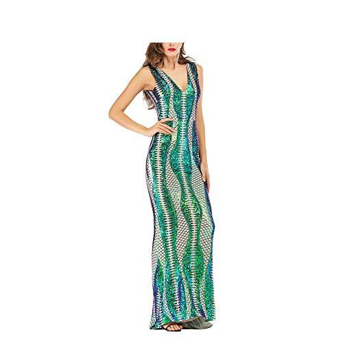 Damen Kleid mit bunten Pailletten Maxi-Lang Abendkleid Abendkleid ärmellos tiefer V-Ausschnitt Slim Meerjungfrau-Kleid Hochzeit Brautjungfer Kleid Club Cocktail Patry Kleid, grün, XL -