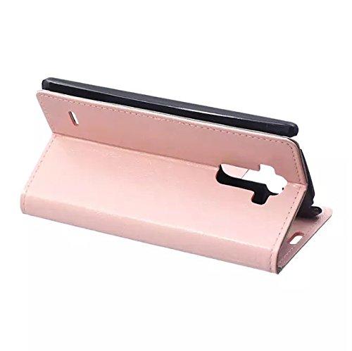 LG G4 Stylus Case, Solid Color verrückt Pferd Textur Muster Leder Schutzhülle Case Horizontal Flip-Stand Geldbörse mit Kartennuten für LG G4-Stylus ( Color : White , Size : LG G4 Stylus ) Pink