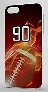Flaming Football Sports Fan Player Number 90 White Rubber Decorative iPhone 6 PLUS Case