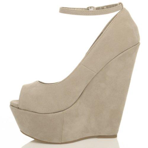Damen Hohe Keilabsatz Knöchelriemen Peep Toe Pumps Plateauschuhe Sandalen Größe Beige Wildleder