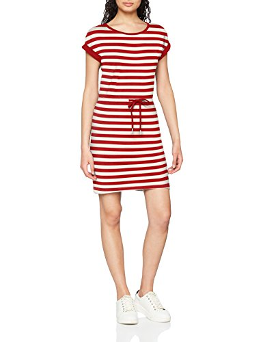 ONLY NOS Damen Kleid Onlamber SS Fold UP Dress Noos, Mehrfarbig (High Risk Red Stripes:Cloud Dancer), 40 (Herstellergröße: L)