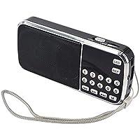Radio Mini FM SD USB MP3 PORTÁTIL Recargable PRUNUS con función de Linterna de Emergencia. 10 Horas de Tiempo de Juego, con Antena Oculta. Memoriza emisoras automáticamente (Sin Manual)