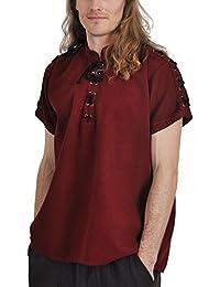 Chemise médiévale pour homme manches courtes col droit cordelette coton rouge