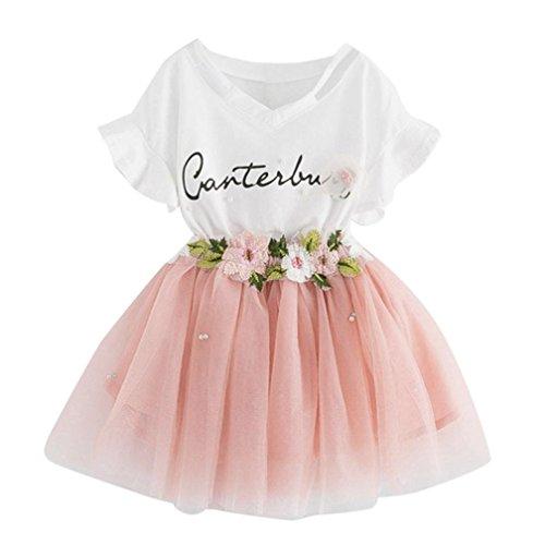 Floral 5'3 (URSING Kleinkind Kinder Baby Mädchen Outfit Kleidung Letter Printing Blumen T-Shirt Kurzarm Pullover Tops + Floral Ballkleid Rock Mini Prinzessin Party Kleid 3-7 Jahre alt (4-5Jahre alt, Rosa))