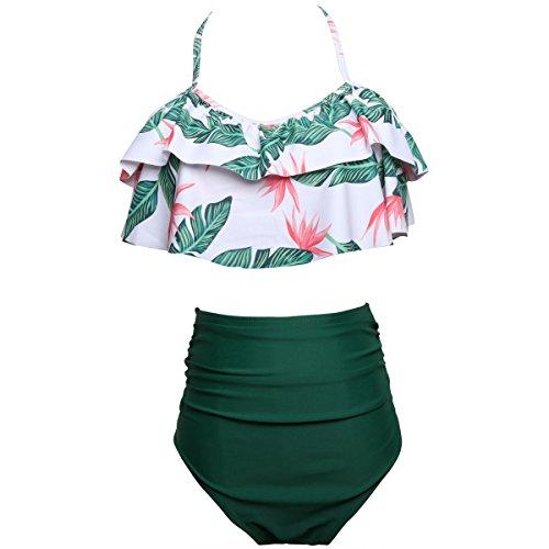 HAINE Twist Push Up Bandeau Bikini Set Damen Pushup Badeanzug viele Farben und Größen Grün XL