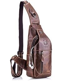 Bolsa bandolera de cuero autentico mochila de pecho y hombros resistentes al agua Vintage Llevar cruzado mochila de cuerpo para hombres mujeres viajar escalar trabajar escuela