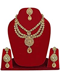 Traditional Gold Plated Kundan Choker Necklace Set For Women / Jewellery Set For Bridal Girls