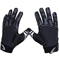 ‏‪Pure Athlete Football Receiver Gloves - Elite-Stick Silicone Gripping Technology - Adult Sizes (Black, Large)‬‏
