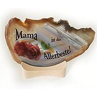 Achat Edelstein Mineralien auf Holz/Teelicht Natur einzigartig kreatives Geschenk für Geburtstag Liebe Freunde Text und Motiv: Mama ist die Allerbeste