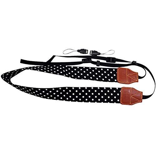 YUnnuopromi Universal Wide Polka Dot Print SLR/DSLR-Kamera-Strap Shoulder Neck Sling Belt Schwarz - Canon Wide Strap