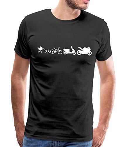 Spreadshirt Evolution Motorrad Biker Roller Fahrrad Kinderwagen Männer Premium T-Shirt, M, Schwarz -