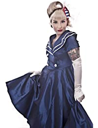 Blue Nautical Sateen Sailor Rockabilly Burlesque Pin-Up Swing Dress Sizes 10-30