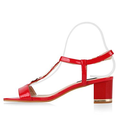 Damen Metallic Sandaletten Blockabsatz Schuhe Sommerschuhe Rot