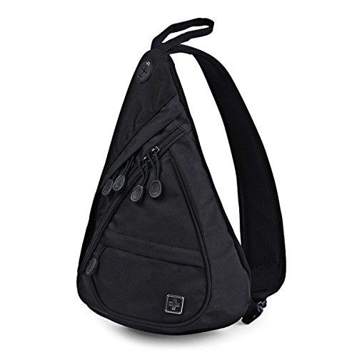 BULAGE Chest Pack Outdoor Freizeit Männer Schulter Trägt Sport Diagonal Kompakt Einfach Reisen Mahlzeiten Black