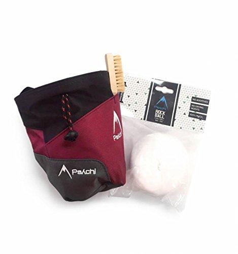 Psychi Premium-Kreidebeutel, Starter-Pack für Bouldern/Klettern, mit Taillen-Gürtel, Kreide-Ball und Bürste., dunkelrot