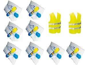Kit auto sécurité : 8 éthylotests NF + 2 gilets jaunes EN 471