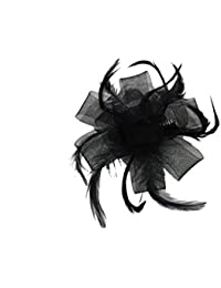 Elegant Net Bow & Feather Hair Comb Slide Fascinator Wedding or Races (Black)