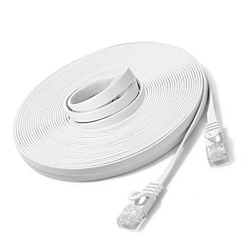 20m - Flachkabel CAT6 | Weiss- 1 Stück | 10/100/1000 Mbit/s | Gigabit LAN Netzwerkkabel UBest