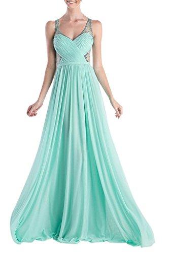 La_Marie Braut Sexy Dursichtig V-ausschnitt Brautjungfernkleider Abendkleider Celebrity Partykleider A-linie Neu Minze Gruen