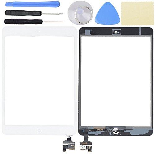 Hedywei für iPad Mini 1 2 Touchscreen Digitizer Ersatz Glas Display Bildschirm mit IC Chip Home Button und Werkzeug (Weiß) (Mini Ipad Bildschirm Reparatur)