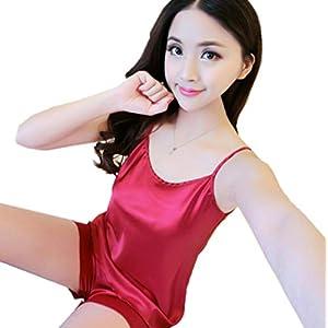 Kllomm Sommer Silk kleine Schlinge Normallackfrauen schließt kleine Weste Pyjamahaushaltsklage-Black_M kurz