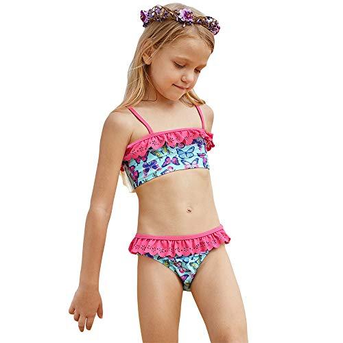 Fett Schmetterling Kostüm - Amadoierly Kinder Split Badeanzug Mädchen Schmetterling Print zerknitterte Badebekleidung große Kinder Mädchen Europa und Amerika Anzug, XL