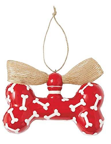 Mudd Pie Dog Bone Keramik-Hängeornament Red with Bones Mudd Pie