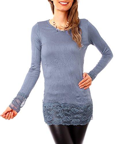Langärmeliges Damen Baumwoll Longshirt mit breiter Spitze Jeansblau
