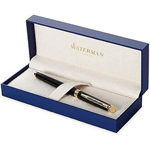 Waterman Hemisphere - Pluma estilográfica en caja de regalo (plumín chapado en oro de punta fina), acabado en cromo lacado con detalles chapados en oro de 23 quilates, color negro