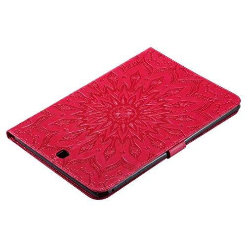 LEMORRY Samsung Galaxy Tab A 9.7 / T550 T555 Custodia Pelle Cuoio Portafoglio Borsa Sottile Bumper Protettivo Magnetico (con Porta Carte di CRossoito) Morbido Silicone TPU Flip Cover Tavoletta Custodi Rosso