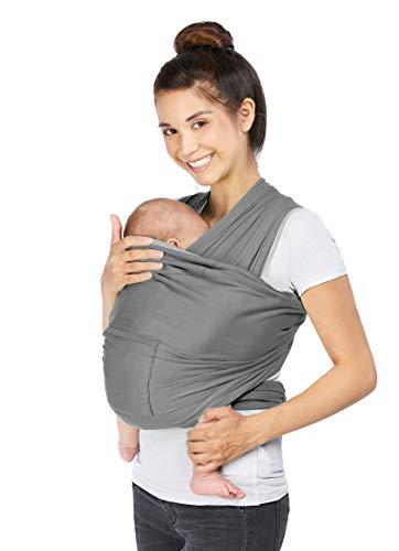 YUNIQME® Tragetuch fürs Baby NEU! - Elastisches Babytragetuch aus 100% Baumwolle - GOTS - Babysling für Neugeborene - Bauch Babytrage I Baby Zubehör - OEKO TEX  - Farbkombination Tuch Dunkelgrau